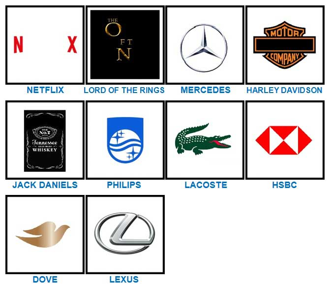 100 Pics Quiz Logos Level 41-60 Answers | 100 Pics Quiz ...